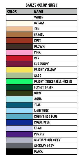 GAUZE COLOR SHEET